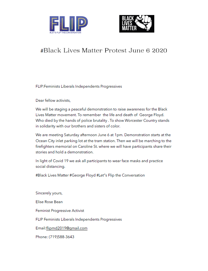 Black Lives Matter Protest Letter